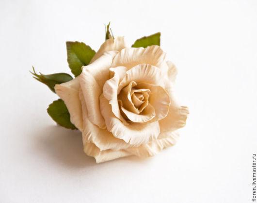 """Броши ручной работы. Ярмарка Мастеров - ручная работа. Купить Брошь """"Бежевая роза"""". Handmade. Бежевый, роза, подарок маме, для нее"""