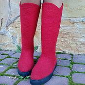 Обувь ручной работы. Ярмарка Мастеров - ручная работа Валенки сапоги высокие Красные колокольчики. Handmade.