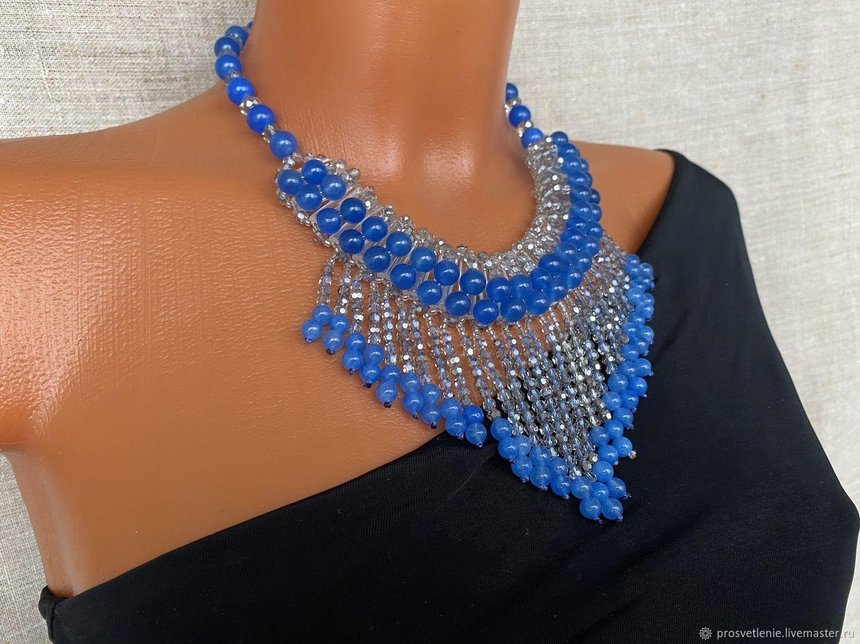 elegant decoration, stylish necklace decoration for a blue dress, Necklace, Voronezh,  Фото №1