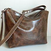 Сумки и аксессуары handmade. Livemaster - original item Leather bag. Crossbody bag. Hobo medium. Brown wine. Handmade.