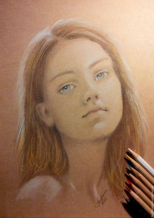 """Люди, ручной работы. Ярмарка Мастеров - ручная работа. Купить Портрет пастелью """"Юность"""". Handmade. Бежевый, портрет, пастель"""