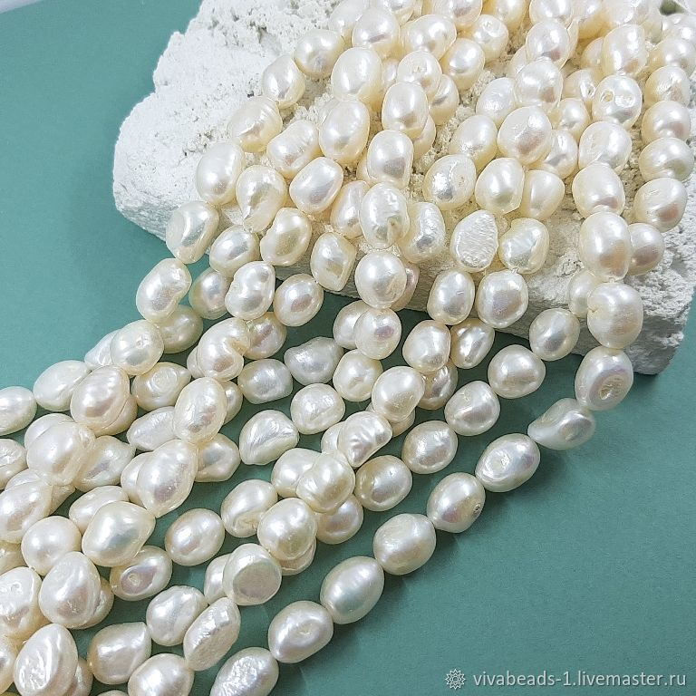 10 PCs. Natural Baroque pearls approx. 9-9,5. 5560 mm (thickness) white (), Beads1, Voronezh,  Фото №1