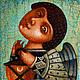 """Фантазийные сюжеты ручной работы. Ярмарка Мастеров - ручная работа. Купить """"Ангел с фонариком"""" , авторская печать.. Handmade. Синий, ключ"""
