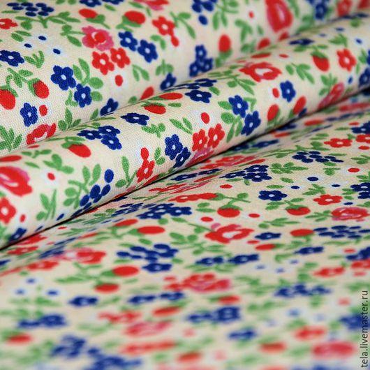 Красные и синие цветочки на белом фоне. Хлопок 100%. Ткань для шитья и рукоделия. Есть в наличии.