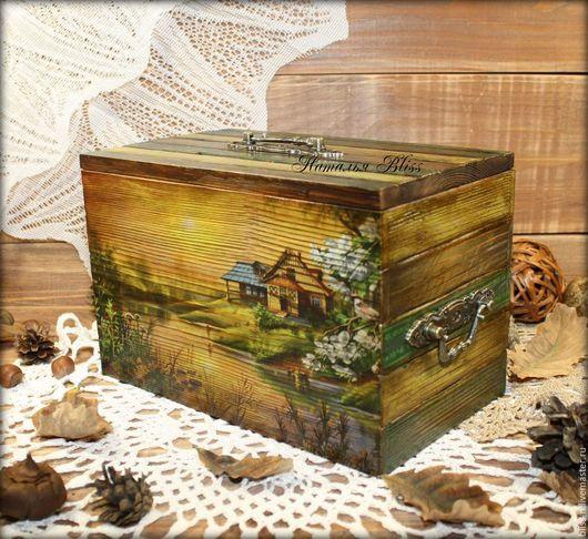 """Корзины, коробы ручной работы. Ярмарка Мастеров - ручная работа. Купить Короб для хранения """"Родные просторы"""". Handmade. Зеленый"""