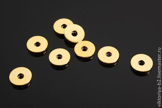 Для украшений ручной работы. Ярмарка Мастеров - ручная работа. Купить Бусина спейсер диск 5 мм, позолота. Южная Корея.. Handmade.