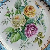 """Посуда ручной работы. Ярмарка Мастеров - ручная работа Роспись фарфора.Тарелка """"Букет с розами"""". Handmade."""