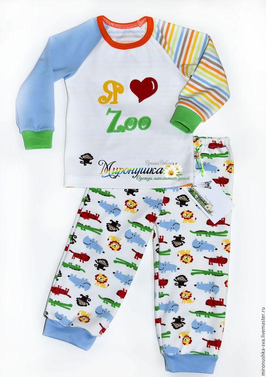 """Одежда унисекс ручной работы. Ярмарка Мастеров - ручная работа. Купить Пижама """"В мире животных"""". Handmade. Комбинированный, аппликации"""