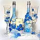 Свадебные аксессуары ручной работы. Ярмарка Мастеров - ручная работа. Купить Свадебный бело-голубой набор. Handmade. Голубой, москва