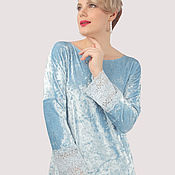 Одежда handmade. Livemaster - original item Dress elegant evening blue velvet with lace on the floor. Handmade.