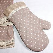 Для дома и интерьера ручной работы. Ярмарка Мастеров - ручная работа Прихватка рукавица  льняная в горошек. Handmade.