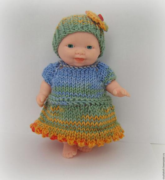 Вязаная одежда для пупсов и маленьких кукол - платье шапка трусы . Ручная работа.Ярмарка мастеров. Студия `Кич`.