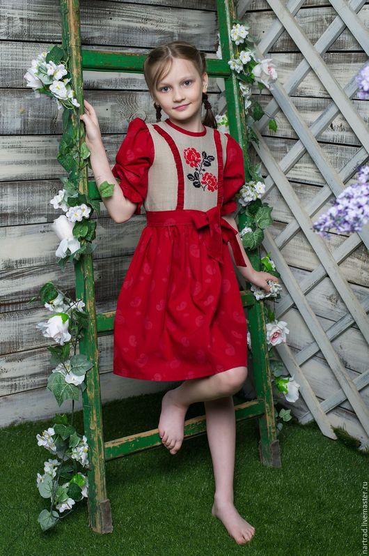 Одежда для девочек, ручной работы. Ярмарка Мастеров - ручная работа. Купить Платье льняное с вышивкой. Handmade. Ярко-красный