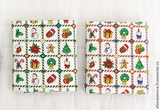 Шитье ручной работы. Ярмарка Мастеров - ручная работа. Купить Ткань хлопок Новый год Квадраты. Handmade. Ткань, корейский хлопок