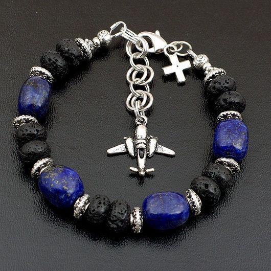 Мужской/женский браслет из лазурита и вулканической лавы подвеска в браслете самолет крест синий черный браслет мужу брату стюардессе отцу другу талисман