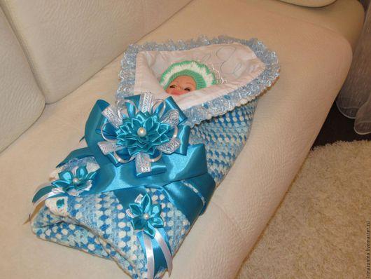 Для новорожденных, ручной работы. Ярмарка Мастеров - ручная работа. Купить Плед-одеяло для новорожденного и лента и бант к нему. Handmade.