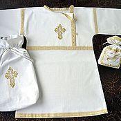 """Комплекты одежды ручной работы. Ярмарка Мастеров - ручная работа Косоворотка """"С золотой тесьмой"""" крестильная. Handmade."""