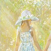 """Картины и панно ручной работы. Ярмарка Мастеров - ручная работа Картина """"Сестренки"""",купить картину недорого,девочки,солнце. Handmade."""