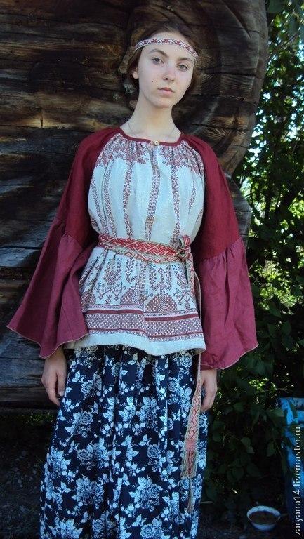 """Блузки ручной работы. Ярмарка Мастеров - ручная работа. Купить Блузка """"Макошь"""" с бордовым рукавом. Handmade. Рисунок, блузка"""