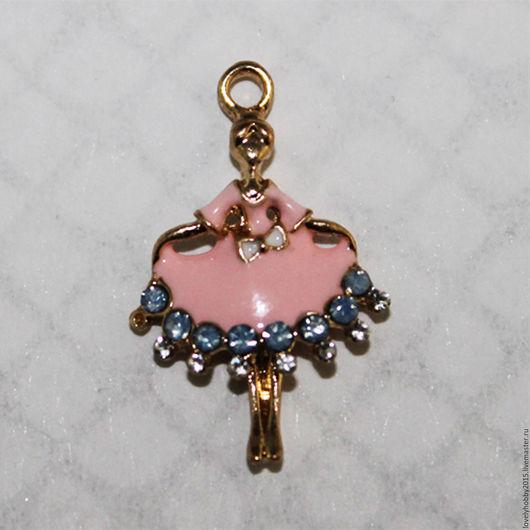 Фурнитура, подвеска из металла `Девочка в розовом платье`.