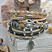 Bead bracelet handmade. Livemaster - original item Boho-chic bracelet with stones
