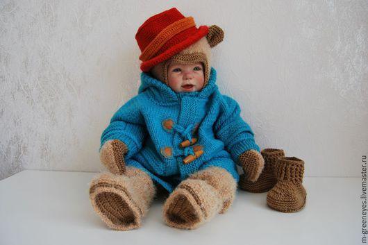 """Для новорожденных, ручной работы. Ярмарка Мастеров - ручная работа. Купить Комплект """"Медвежонок"""" 7 в 1. Handmade. Бирюзовый, дафлкот"""