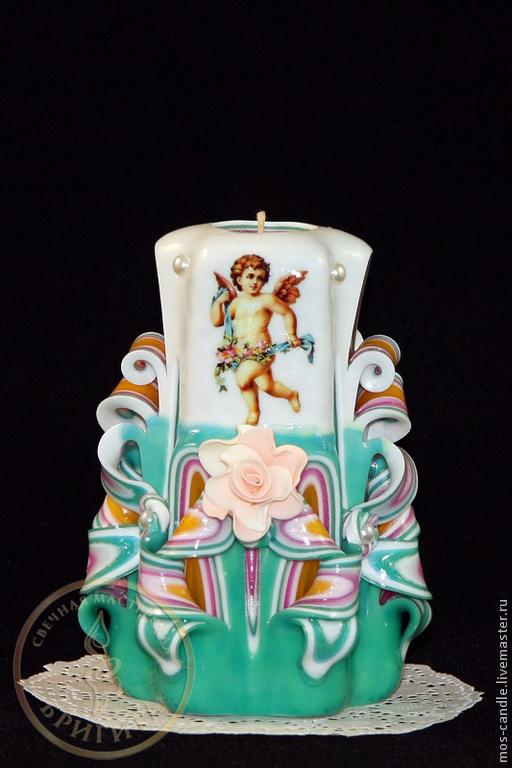 Свеча резная ручной работы Кофейный цветок `Ангел(2)` - прекрасный подарок ко дню Ангела и просто знак внимания дорогому человеку. Цветовая коллекция `Бирюзовые грезы`. Свечная мастерская Бригита.