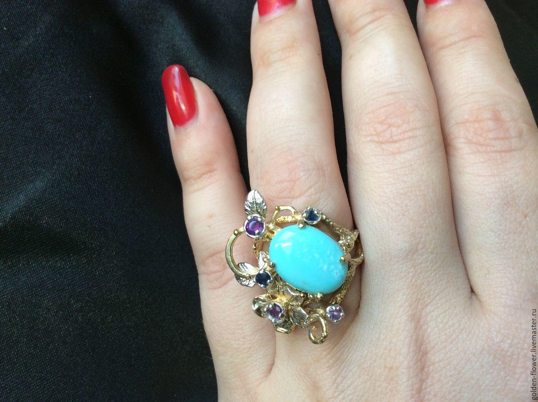 Цветочное кольцо с натуральной аризонской бирюзой, Кольца, Камышин,  Фото №1