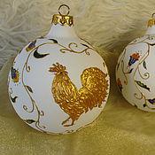 Подарки к праздникам handmade. Livemaster - original item Christmas ball with painting the Golden Cockerel. Handmade.