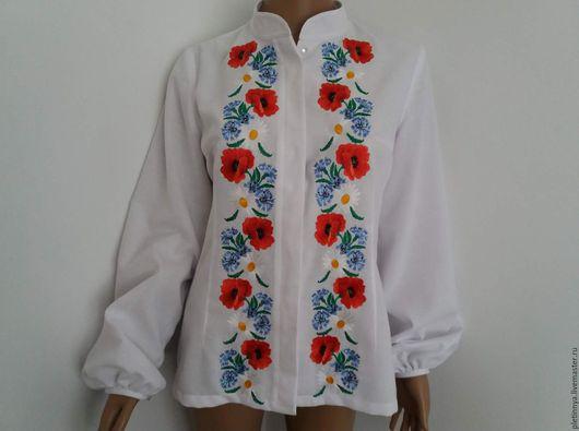 Блузки ручной работы. Ярмарка Мастеров - ручная работа. Купить блузка с воротником-стоечкой. Handmade. Белый, хлопок