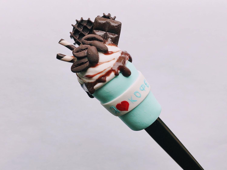 Вкусная ложка с декором ручной работы из полимерной глины кофе на ложк, Ложки, Санкт-Петербург,  Фото №1