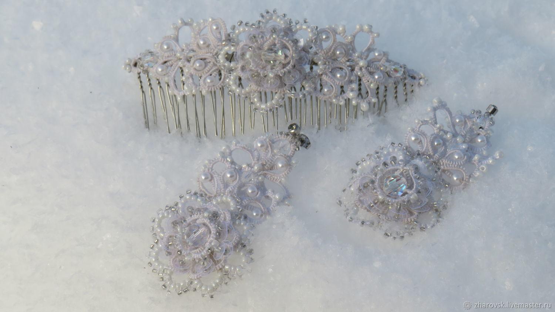 Комплект урашений для невесты, Серьги, Черемшанка,  Фото №1