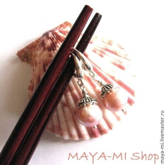 Серьги ручной работы. Ярмарка Мастеров - ручная работа. Купить KASUMI ROSE BEAUTY-1, серьги с жемчугом касуми. Handmade.