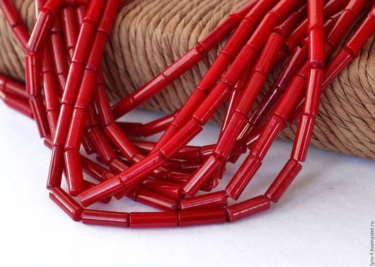 Для украшений ручной работы. Ярмарка Мастеров - ручная работа. Купить Коралл трубочки красный, 9х3мм. Handmade. Коралл, бусины