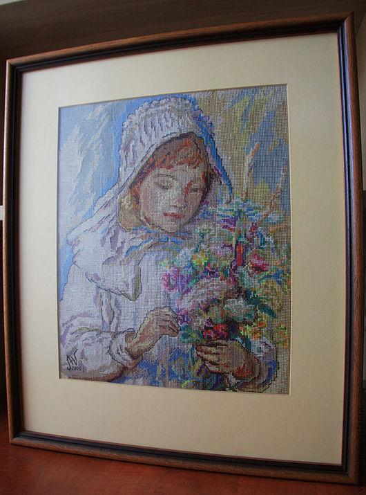 """Люди, ручной работы. Ярмарка Мастеров - ручная работа. Купить Вышитая картина """"Цветы для мамы"""". Handmade. Девочка, ручная вышивка"""