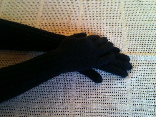 Варежки, митенки, перчатки ручной работы. Ярмарка Мастеров - ручная работа. Купить Перчатки и шапка вязаные. Handmade. Тёмно-синий