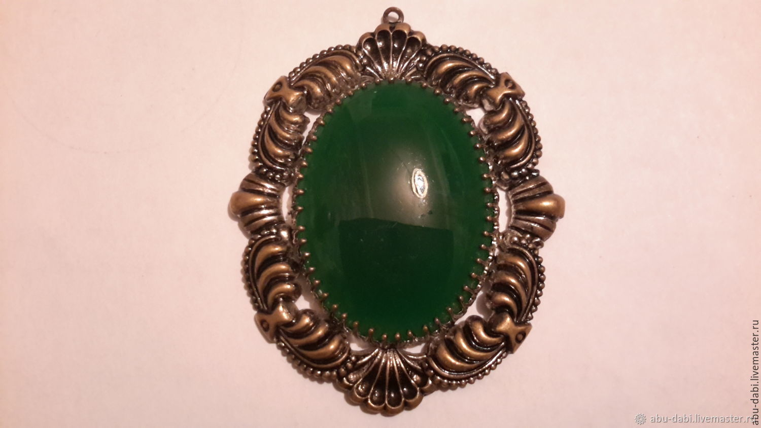 The pendant is a CHRYSOPRASE pendant GERMANY vintage glass 1960s.huge, Vintage pendants, Moscow,  Фото №1