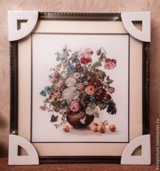 Картины цветов ручной работы. Ярмарка Мастеров - ручная работа. Купить Букет цветов. Вышитая картина. Handmade. Бледно-розовый