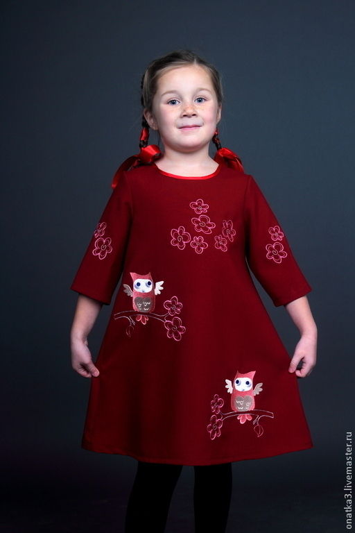 Одежда для девочек, ручной работы. Ярмарка Мастеров - ручная работа. Купить Платье с совушками и цветочками (бордо). Handmade. Бордовый, габардин