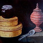 Картины и панно handmade. Livemaster - original item Still life with boxes for sweets, oil painting. Handmade.