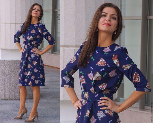 синее платье, стильное платье, синее платье миди, платье с принтом, платье по колено, осеннее платье, короткое платье, универсальное платье, синее платье, стильное платье, синее платье миди, платье