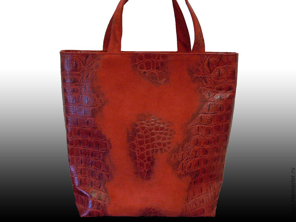 Handbags handmade. Livemaster - handmade. Buy 'Red crocodile' red suede bag-pack.Red, animal coloring, red suede