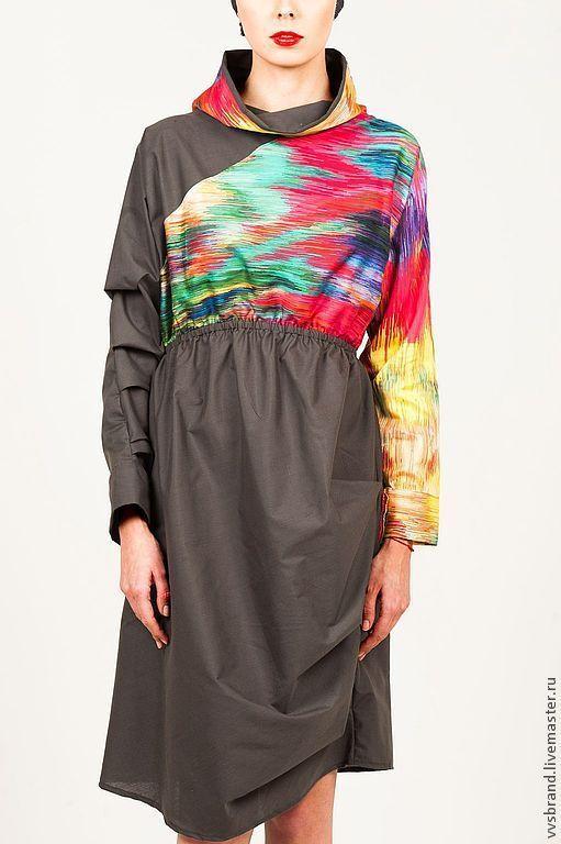 Платья ручной работы. Ярмарка Мастеров - ручная работа. Купить Ассиметричное платье. Handmade. Разноцветный, со складками, Тренд сезона