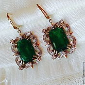 Украшения handmade. Livemaster - original item Earrings Emerald. Emeralds, diamonds, gold 585. Handmade.