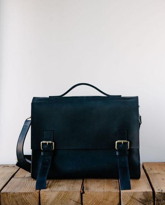 Мужские сумки ручной работы. Ярмарка Мастеров - ручная работа. Купить Портфель Semper из кожи синего цвета. Handmade. Однотонный