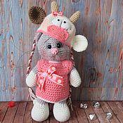 Stuffed Toys handmade. Livemaster - original item Knitted Kitty dressed as a ladybug. Handmade.