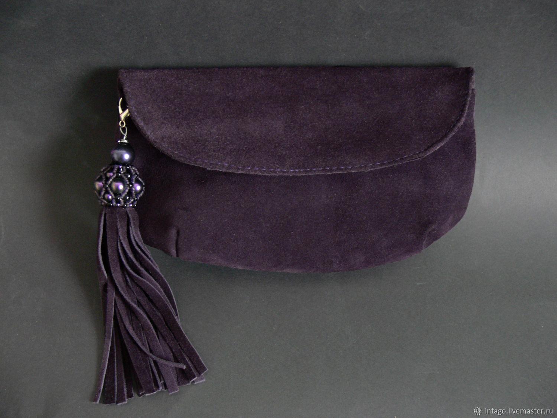 Purple clutch with Swarovski brush, Clutches, Novosibirsk,  Фото №1