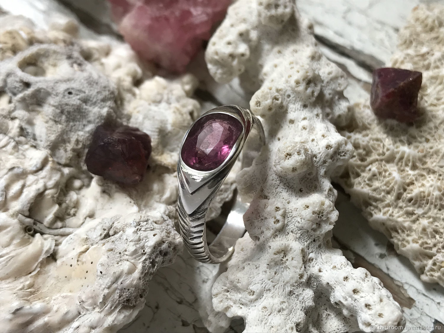 Silver ring with natural Purple Sapphire, Rings, Moscow,  Фото №1