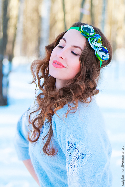 "Повязка на голову с мелкими цветами зеленая ""Весна"", Tiaras, Moscow,  Фото №1"