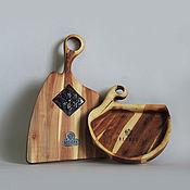Доски ручной работы. Ярмарка Мастеров - ручная работа Комплект из яблоневой хлебницы и доски с керамикой. Handmade.
